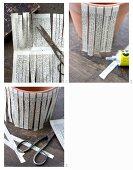 Tontopf mit Papierstreifen aus altem Buch verzieren