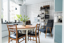 Dining set in blue and white retro kitchen