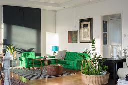 Green sofa set in light-flooded living room