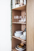 Glasses and crockery on wooden shelves with trailing plant hanging down one side