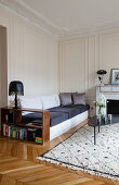 Marble mantelpiece and panelled wall