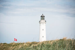 Lighthouse and Danish flag