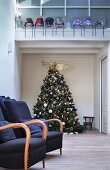 Decorated Christmas tree under mezzanine