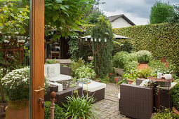 Elegant outdoor furniture and potted plants on terrace