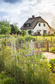 Fenced garden area with thatched house in background (Schleswig-Holstein, northern Germany)