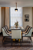 Upholstered chairs in dining room