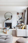 Classic designer living room in pale earthy tones