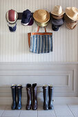Hats and boots in cloakroom