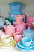 Retro crockery in pastel shades