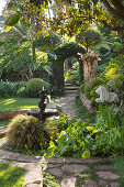 Lushly planted pond in exotic garden