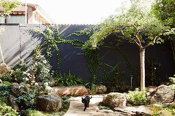 Rock garden with black privacy wall