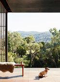 Bank mit Tierfelll und Hund auf Terrasse mit Landschaftsblick