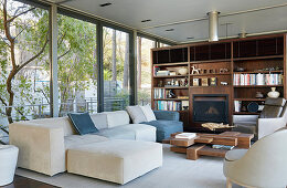 Living room in natural shades with glass walls and fitted shelving