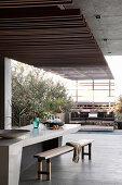 Roofed terrace of luxurious architect-designed house