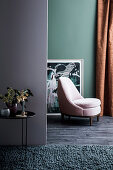Armchair in a living room with various pale colors