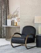 Black armchair in living room in elegant Bohemian style