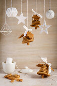 White Christmas decorations and gingerbread bells