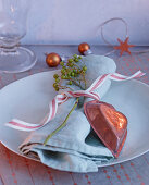 Festive place setting with napkin