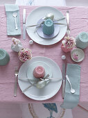 Two place settings on Easter table