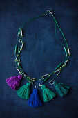 Necklace of hand-made tassels