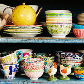 Collection of various brightly coloured crockery