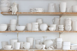 Shelves of pottery
