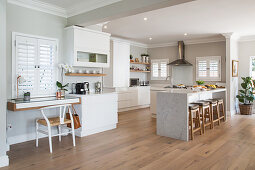 Counter in bright kitchen in open-plan interior