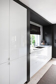 Black and white fitted kitchen