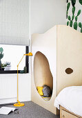 Boy's room with plywood play den