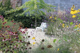 Chair under tree against garden wall seen through flowering plants