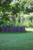 Raised wicker bed in garden