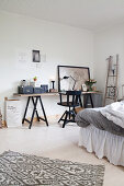 Desk on trestles in bedroom