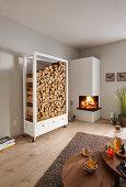 DIY firewood rack next to open fireplace