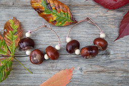 Napkin rings handmade from horse chestnuts