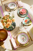 Table set with mismatched nostalgic crockery