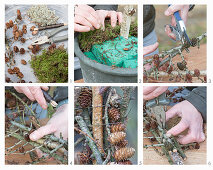 Making a stylised Christmas tree from larch cones