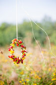 Wreath of rose hips and yellow flowers in garden