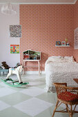 Chequered floor in vintage-style child's bedroom