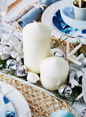 Maritime decoration with white candles