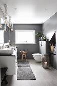 Modern grey-and-white bathroom