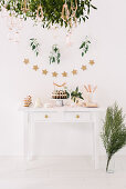 Modern Christmas buffet on white console table