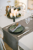 Green and grey Christmas place setting