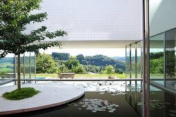 Baum auf künstlicher Insel im Teich eines Architektenhauses