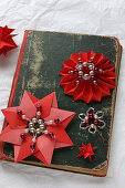 Vintage-style Christmas arrangement of bead and paper stars