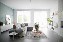 Modern living room in grey and white