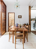 Wooden table and chairs in Mediterranean dining room