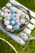 Basket of speckled Easter eggs
