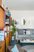 Retro shelving, potted palm and grey couch in living room