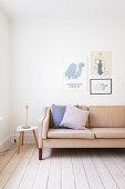 Retro sofa in simple living room