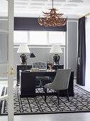 Luxurious study in black, white and gray